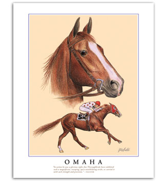 Omaha thoroughbred race horse racing Triple Crown art collectables gifts