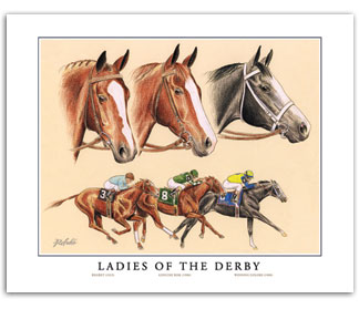 Ladies of the Kentucky Derby Triple Crown thoroughbred horse art collectibles Genuine Risk Regret Winning Colors