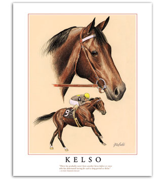 Kelso thoroughbred horse racing art famous horses equestrian paintings