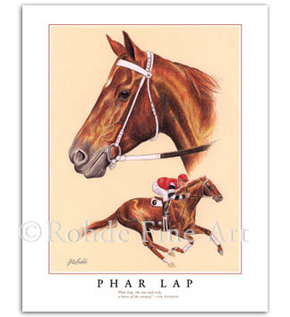 Phar Lap famous race horses in art Australian thoroughbred painting