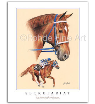 Secretariat racehorse thoroughbred horse racing framed art painting Triple Crown Kentucky Derby