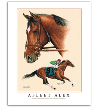 Afleet Alex horse racing art pictures by thoroughbred artist Rohde Fine Art