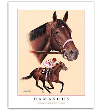Damascus horse racing art paintings prints framed for sale