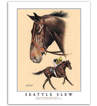 Seattle Slew race horse racing art Triple Crown Kentucky Derby Rohde
