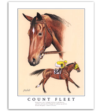 Count Fleet thoroughbred Kentucky Derby Triple Crown signed horse art