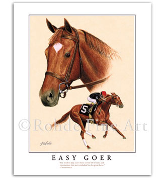 Easy Goer race horse thoroughbred art prints portraits by Rohde
