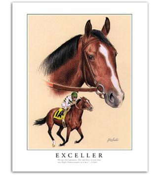 Exceller race horse art paintings pictures for sale