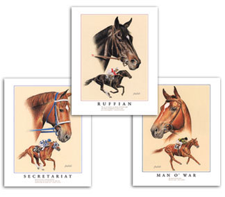 Thoroughbred horse racing art prints paintings pictures