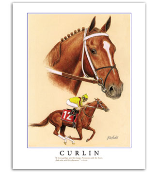Curlin racehorse horse racing art print painting pictures