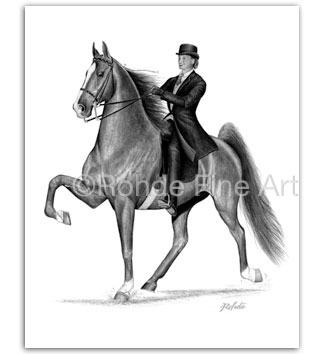 American Saddlebred racking horse art prints five gaited Rohde