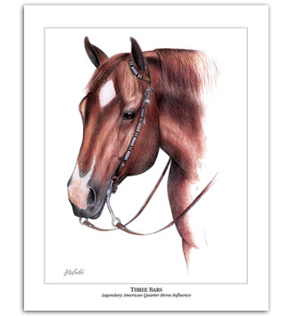 Three Bars Quarter Horse art western painting by Rohde