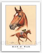 Man o' War horse racing art famous thoroughbred racehorse painting