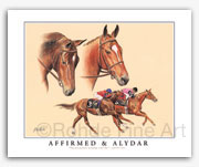 Affirmed & Alydar famous race horses thoroughbred horse racing art pictures