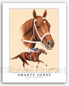 Smarty Jones horse racing art by thoroughbred horse artist Heather Rohde