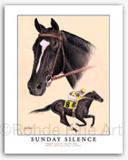 Sunday Silence thoroughbred horse racing art prints signed Rohde