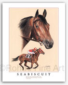 Seabiscuit famous thoroughbred race horse framed art painting pictures gifts