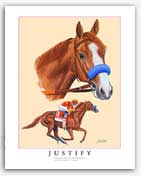 Justify horse racing art Triple Crown Kentucky Derby paintings