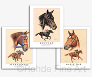 Secretariat Man o' War Ruffian art prints paintings for sale