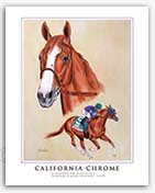 California Chrome thoroughbred horse racing art print painting