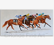 Triple Crown winners Secretariat Seattle Slew Affirmed American Pharoah painting art