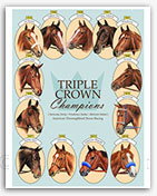 Triple Crown winners American Pharoah horse racing art prints paintings
