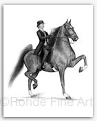 American Saddlebred horse equine art saddleseat drawings