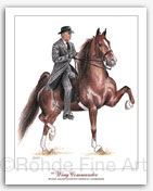 CH Wing Commander Saddlebred horse art paintings Rohde