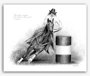 Barrel racing western rodeo American Quarter Horse art