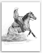 Reining Quarter Horse western graphite drawings art