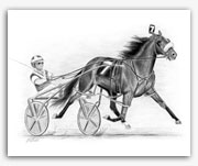 Standardbred harness racing art pacer pacing graphite art Rohde