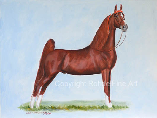 Original CH Wing Commander Saddlebred horse art painting for sale